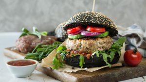 hamburguesa vegana de pan negro